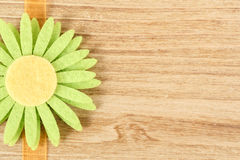 Wooden board for spring message with flowers Stock Photo