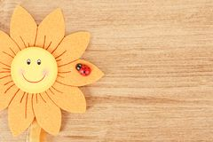 Wooden board for spring message with flowers Stock Photography