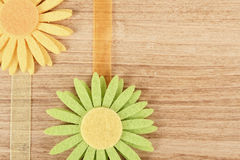Wooden board for spring message with flowers Stock Photos