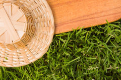Wooden board and straw hat Royalty Free Stock Image
