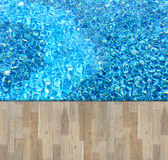 Wooden board on swimming pool Stock Images