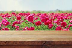 Wooden board table in front of summer flowers field. Vintage wooden board table in front of summer flowers field. product display and picnic concept Royalty Free Stock Image