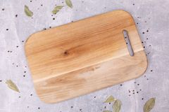 A wooden board on the table royalty free stock photography