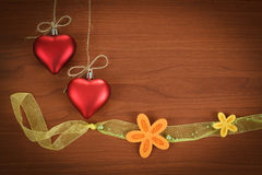 Wooden board for valentine message with flowers Stock Image