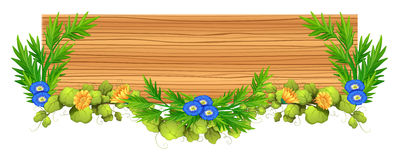 Wooden board with vine and flower. Illustration Royalty Free Stock Image