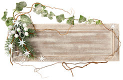 Wooden board with winter decorations isolated Royalty Free Stock Image