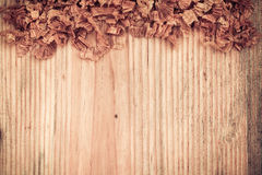 Wooden board with woodchips Stock Photo