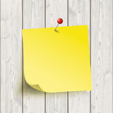Wooden Board Yellow Sticker Thumbtack Royalty Free Stock Images