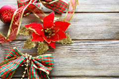 Wooden boards background with Christmas decoration Royalty Free Stock Images