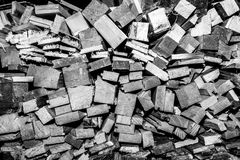 Wooden boards broken. Many wooden boards broken blaCK and whyte Royalty Free Stock Photos