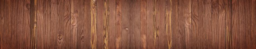 Wooden boards brown color, table or a floor of wood for the back Stock Images