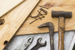 Wooden boards and carpenter's tools Royalty Free Stock Images