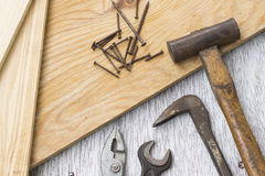 Wooden boards and carpenter's tools Stock Images