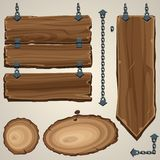 Wooden boards with chain Stock Photo