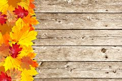 Wooden boards with colorful autumn leaves Stock Photography