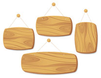 Wooden boards on a cord. Royalty Free Stock Photography