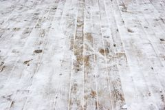Wooden boards covered with snow Stock Images