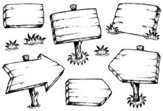 Wooden Boards Drawings Collection Royalty Free Stock Images