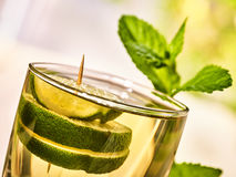 On wooden boards is glass with mohito drink and lime. Royalty Free Stock Photo