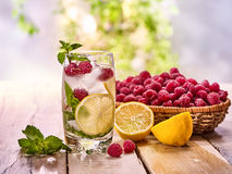 On wooden boards is glass with raspberry mohito and lemon. Stock Images