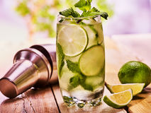 On wooden boards is glasses with mohito. Stock Image