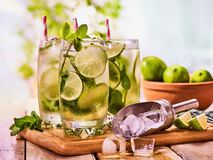 On wooden boards glasses with mohito and scoop ice. Royalty Free Stock Photos
