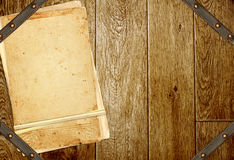 Wooden boards, old cards and leather belt Royalty Free Stock Image