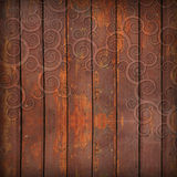 Wooden boards and ornament Stock Images