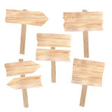 Wooden boards and signs. On white Stock Photos