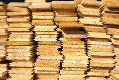 Wooden boards. Stack of wooden boards, close up view Stock Image