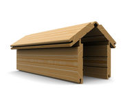 Wooden boards stacked in the shape of the house. 3d rendering Royalty Free Stock Photography