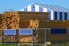 Wooden boards stacked at the timber yard Stock Images