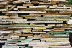 Wooden boards used to make concrete mouldings Royalty Free Stock Photography