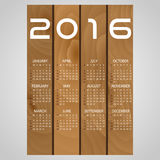 2016 wooden boards wall calendar with white eps10 Stock Photo