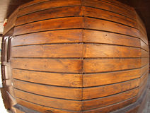 Wooden boards wall with wide angle fisheye view. Brown wall made of wooden boards with wide angle fisheye view stock photo