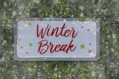 Wooden boards with winter break royalty free stock images
