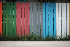 Wooden boards. For fence with rainbow color Stock Image