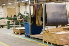 Wooden boards at workshop or woodworking plant Stock Images