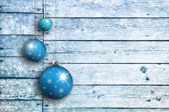 Wooden boards with Xmas bulbs set Royalty Free Stock Photography