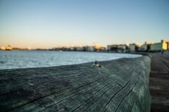 Wooden boardwalk along coastline Royalty Free Stock Images