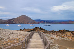 Wooden boardwalk on Bartolome island, Galapagos National Park, E Stock Images