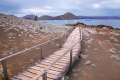Wooden boardwalk on Bartolome island, Galapagos National Park, E Royalty Free Stock Image