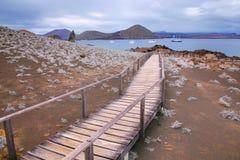 Wooden boardwalk on Bartolome island, Galapagos National Park, E Royalty Free Stock Image
