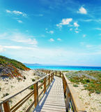 Wooden boardwalk in Capo Testa on a clear day Royalty Free Stock Image