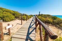 Wooden boardwalk in Costa Rei Stock Photography
