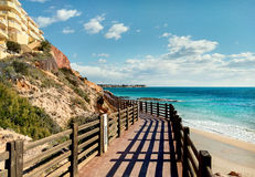 Wooden boardwalk in Dehesa de Campoamor. Spain Royalty Free Stock Photos