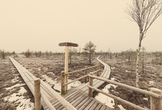 Wooden boardwalk with empty direction sign - retro vintage Royalty Free Stock Image