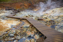 Wooden boardwalk in geothermal area Royalty Free Stock Photo
