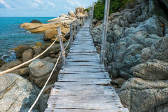 Wooden Boardwalk at Haad Rin, Koh Pha Ngan Royalty Free Stock Photo