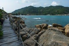 Wooden Boardwalk at Haad Rin, Koh Pha Ngan Royalty Free Stock Images